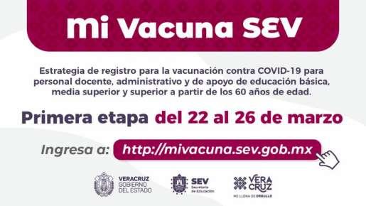 Inicia en Veracruz registro de docentes mayores de 60 años para recibir vacuna anti-COVID-19: SEV