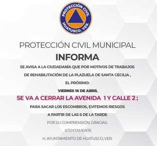 INFORMACIÓN IMPORTANTE DE PROTECCIÓN CIVIL DE HUATUSCO