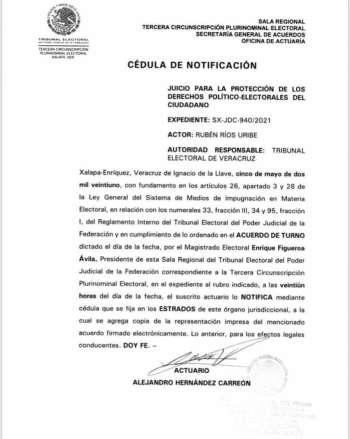 Desesperado Rubén Ríos ahora va contra Tribunal Electoral de Veracruz