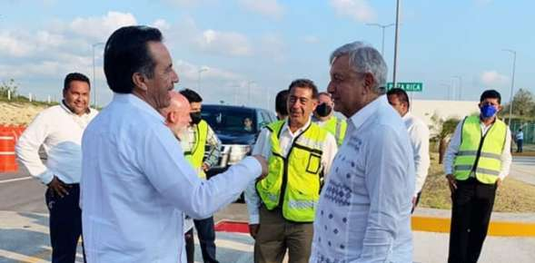 Anuncia Gobernador Cuitláhuac García Jiménez próxima apertura del tramo de la autopista del libramiento de Tuxpan hacia Ozuluama.