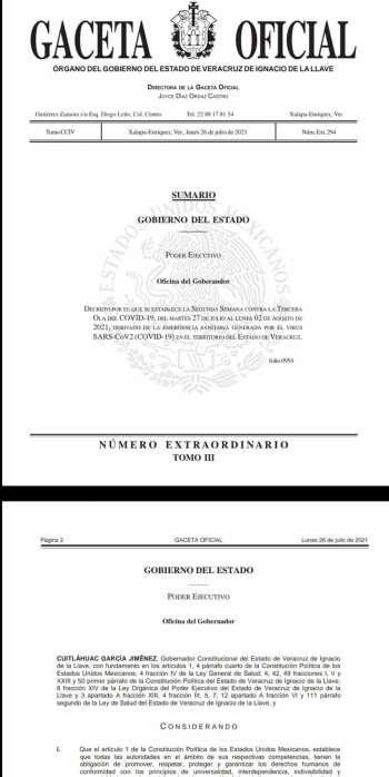 Publica Gobernador Cuitláhuac García Jiménez Decreto contra la tercera ola, municipios deben controlar eventos masivos