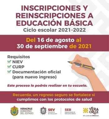 Inicia proceso de inscripción y reinscripción a Educación Básica ciclo 2021-2022