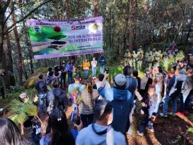 Reforestan predio para preservar manantiales  que surten de agua a comunidades de Altotonga