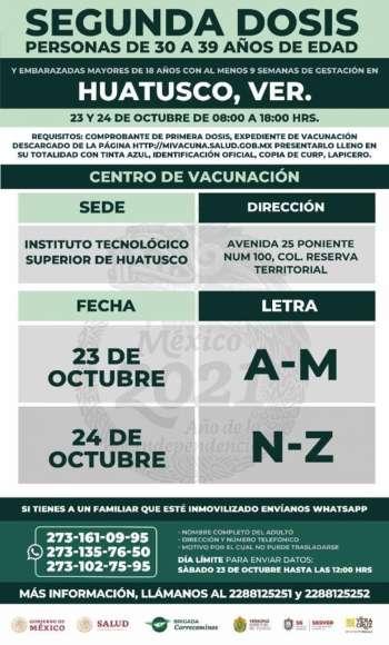Sábado 23 y domingo 24de octubre, segunda dosis vacuna contra Covid-19, de 30 a 39 años de edad.